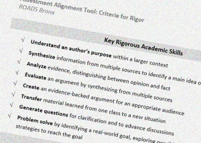 Aligning Assessments to Mastery at ROADS Bronx
